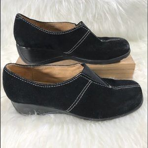 Naturalizer Shoes Black Suede Wedge Sz 7-1/2W